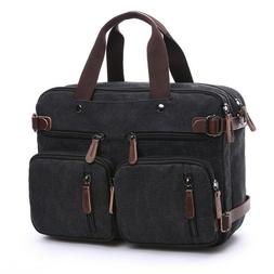 "Mens Canvas Briefcase 15"" Laptop Backpack Large capacity Cro"