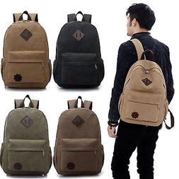 Mens Plain Canvas Backpack Rucksack Travel Hiking Sports Sch