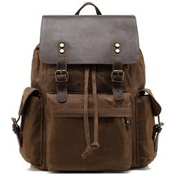 Kenox Mens Genuine Leather Laptop Backpack Waxed Canvas Rusk