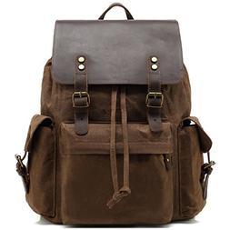 Kenox Mens Genuine Leather Laptop Backpack Waxed Canvas Rusk