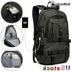 Mens Multifunctional 17'' Laptop Backpack Travel Camping USB
