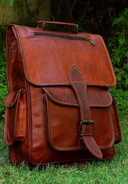 mens vintage genuine leather laptop backpack rucksack