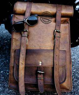 Mens Vintage Genuine Leather Laptop Backpack Rucksack Messen