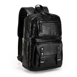 Mens Women's Leather Backpack Laptop Shoulder Satchel Travel
