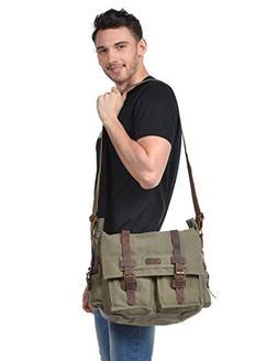 Kattee Messenger Bag British Style Retro Unisex Canvas Leath