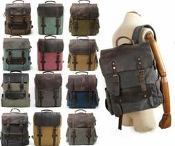 """Military Canvas Leather Satchel School 15"""" Laptop Hiking Tra"""