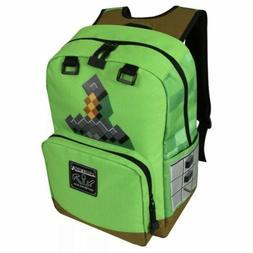 "Minecraft 17"" Kids Green Creepers Sword Backpack Book Bag La"