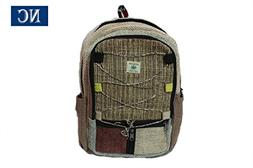 Pure Hemp Multi Pocket Backpack Handmade Nepal with Laptop S