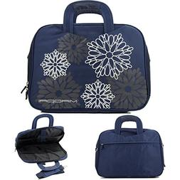 Navy::14in Nylon Floral Print Laptop Case with Shoulder stra