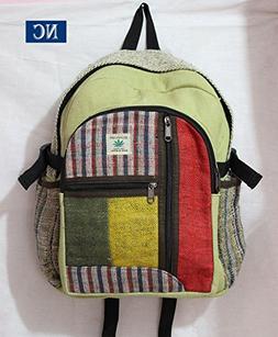 Nepali Handmade Hemp Rasta Backpack - 100% Pure Hemp  Backpa