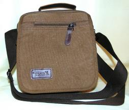 New Kenox Canvas Messenger Bag Crossbody Classic Browns Mens