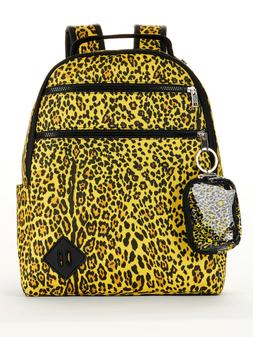 """No Boundaries Yellow Leopard Animal Print 15"""" Dome Backpack,"""