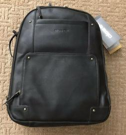 NWT Solo Executive 15.6 Inch Laptop Backpack, Dark Brown Lea
