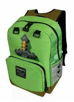 "NWT New Minecraft Creeper Sword Kids School 17"" Green Backpa"