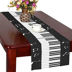 InterestPrint Piano Keyboard with Music Note Long Table Runn