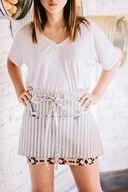Striped Waist Apron with Pockets & Loops | Eco Friendly Upcy
