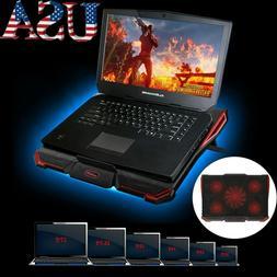 Portable USB Laptop Cooling Pad LED 5 Fans Cooler Adjustable
