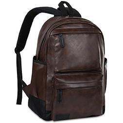 Vbiger PU Leather Backpack Waterproof Travel Daypack School