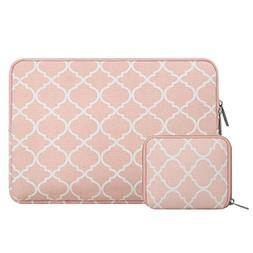 Mosiso Quatrefoil Style Canvas Fabric Laptop Sleeve Bag Cove