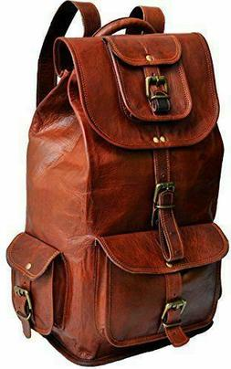 Real genuine Leather Men's & Women's Backpack Satchel Brown