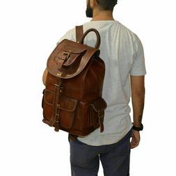 Real genuine men's leather backpack bag satchel briefcase la