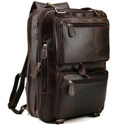 "Real Leather Backpack Briefcase For Men 14"" Laptop Messenger"