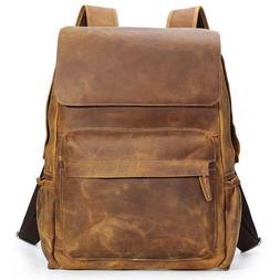 "Real Leather Travel Backpack For Men Work 15"" Laptop Satchel"