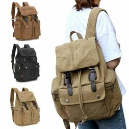 retro canvas backpack travel hiking sports school