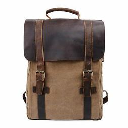 S-ZONE Retro Canvas Leather School Travel Backpack Rucksack