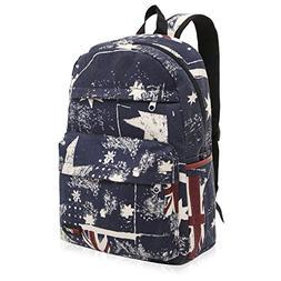 Retro Union Jack UK Flag Canvas School Backpack for Kids, 17