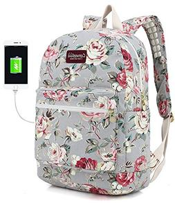 Canvaslove Rose Blue Canvas Waterproof Laptop Backpack with