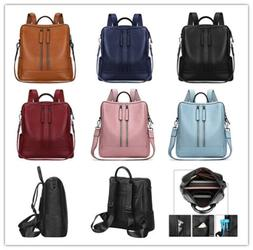 S-ZONE, Women Genuine Leather Backpack Casual Shoulder Bag P