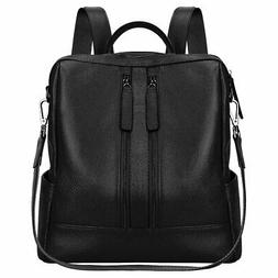 S-ZONE Women Genuine Leather Backpack Casual Shoulder Bag, B
