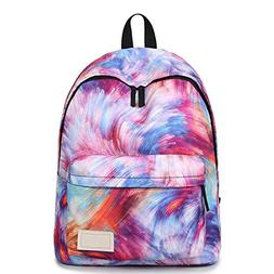School Backpack for Teen Girls, Tie-dye Colorful Novel Patte