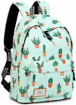 School Backpack Laptop Bag Girls Kids Boys Teens Cactus Book