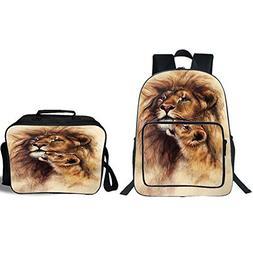 "iPrint 19"" School Backpack & Lunch Bag Bundle,Safari Decor,P"