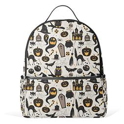 Fashion School Backpacks Vintage Halloween Owl Bat Tomb Cat