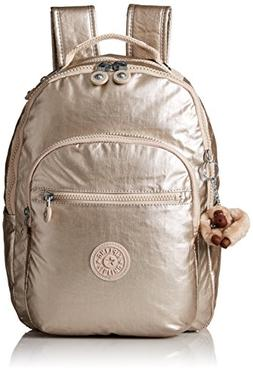 265520ab9ce Kipling Women's Seoul S Metallic Backpack, Sparkly Gold
