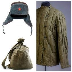 SET 3 USSR Vintage Telogreika Padded jacket + Ushanka + Back