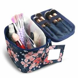 Small Cosmetic Makeup Toiletry Organizer Tote Carry Bag Navy