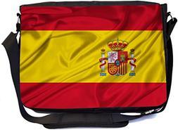 Rikki Knight Spain Flag Design Premium Messenger Bag - Schoo