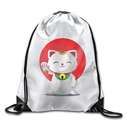 Special Maneki Neko Lucky Cat Backpack Sack Bag For Men & Wo