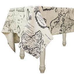 Square Cotton Linen Washable Tablecloth Vintage Rectangle Wo