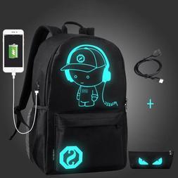 Luminous Teenager School Laptop Backpack Bag USB Charging An
