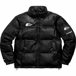 Supreme X The North Face TNF Leather Nuptse Jacket Black Siz