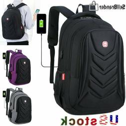 """Swiss 15.6"""" Laptop Backpack EVA Protect shell USB Charge Por"""