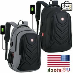 "Swiss EVA Protect shell 15.6"" Laptop Backpack USB Charge Por"