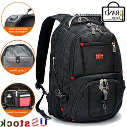 "Swiss Multifunctional Waterproof 17"" Laptop Backpack USB Cha"