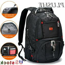 "Swiss Multifunctional Waterproof 17"" Laptop Backpack USB Cha"