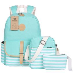 BLUBOON Teens Canvas Backpack Girls School Bags Set, Bookbag